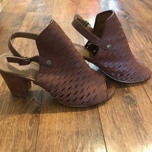Brown block heel summer booties